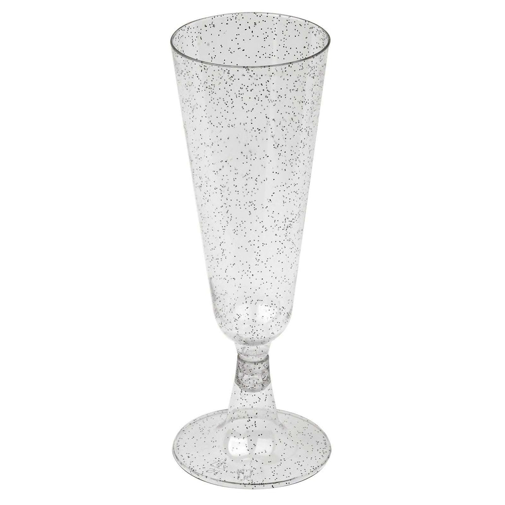 12 Pack 5oz Clear with Silver Glitter Plastic Disposable Champagne Flutes