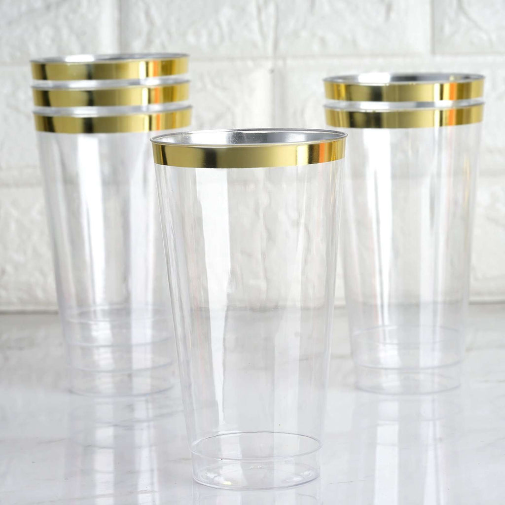 12 Pack 18oz Gold Rimmed Clear Cocktail Disposable Plastic Glasses