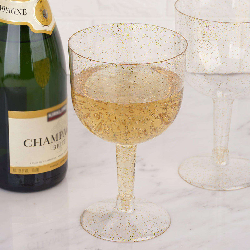 6 Pack 25oz Gold Glitter Sprinkled Clear Plastic Disposable Champagne Glass