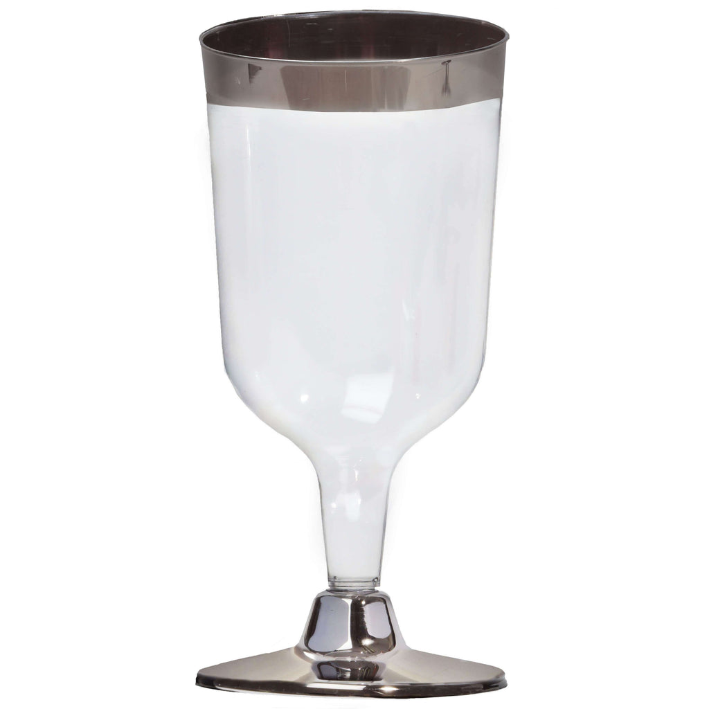 12 Pack 6oz Clear with Silver Rim Plastic Disposable Wine Glass