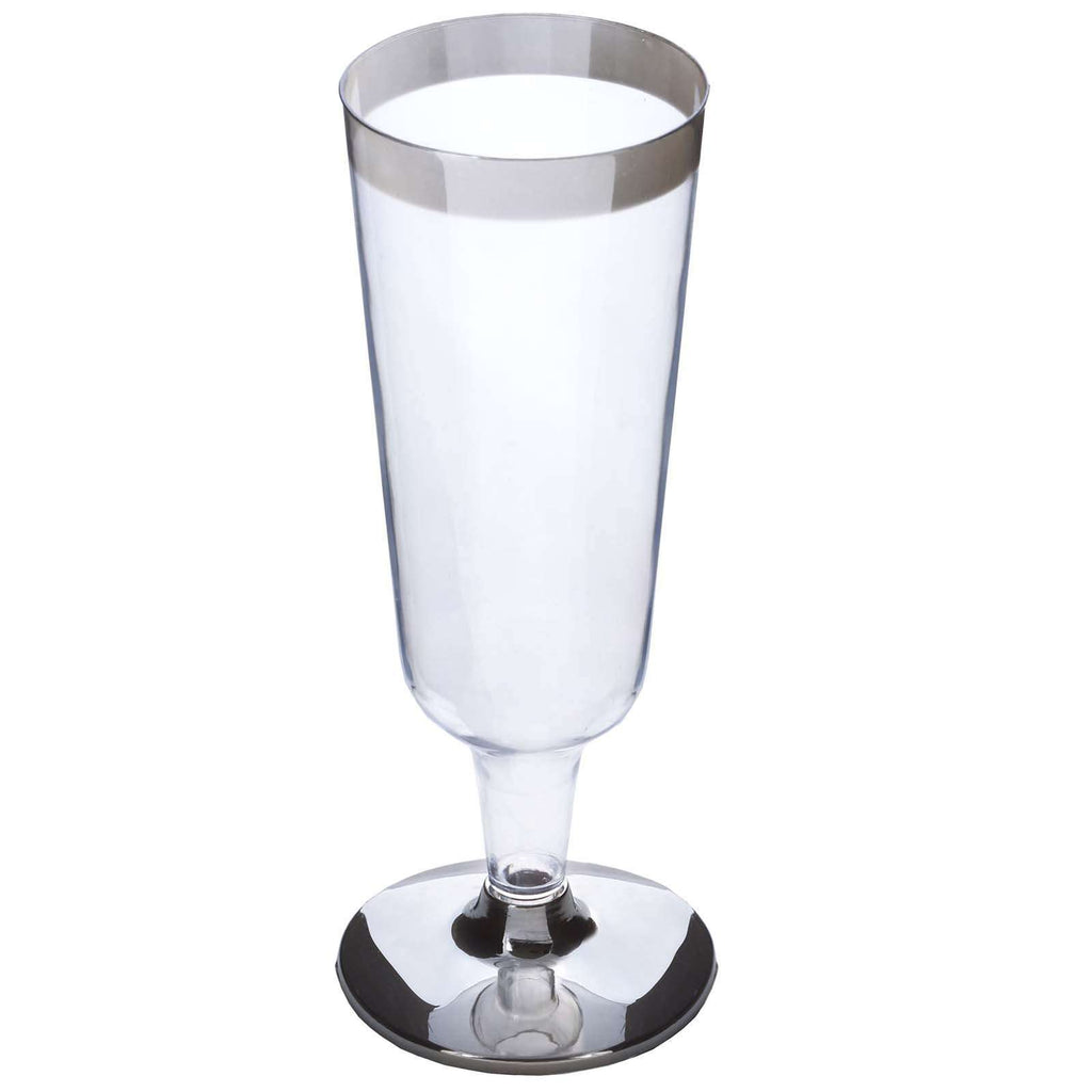 12 Pack 6oz Clear with Silver Rim Plastic Disposable Champagne Glass
