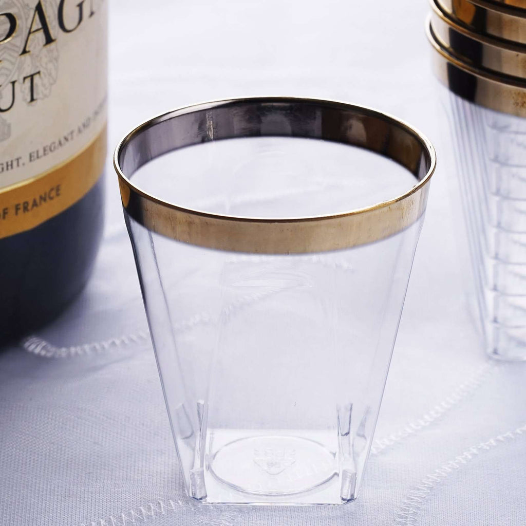12 Pack 2oz Gold Rimmed Plastic Disposable Shot Glasses