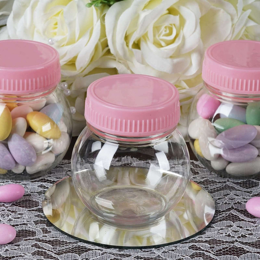6 OZ Wholesale Plastic Clear Containers Candy Beverage Favor Jar With Pink Cap - 12 PCS