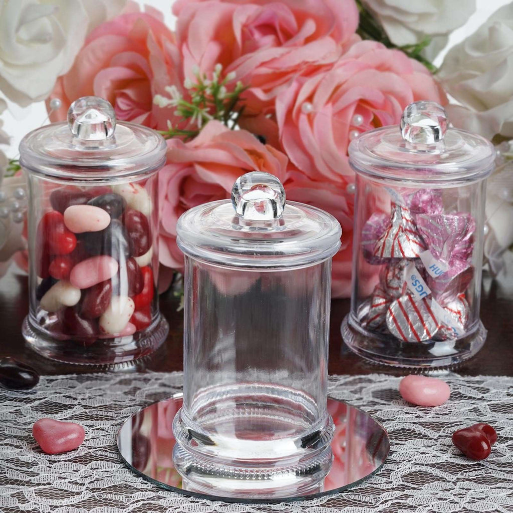6 OZ Wholesale Plastic Clear Containers Candy Beverage Favor Jar With Clear Lid - 12 PCS