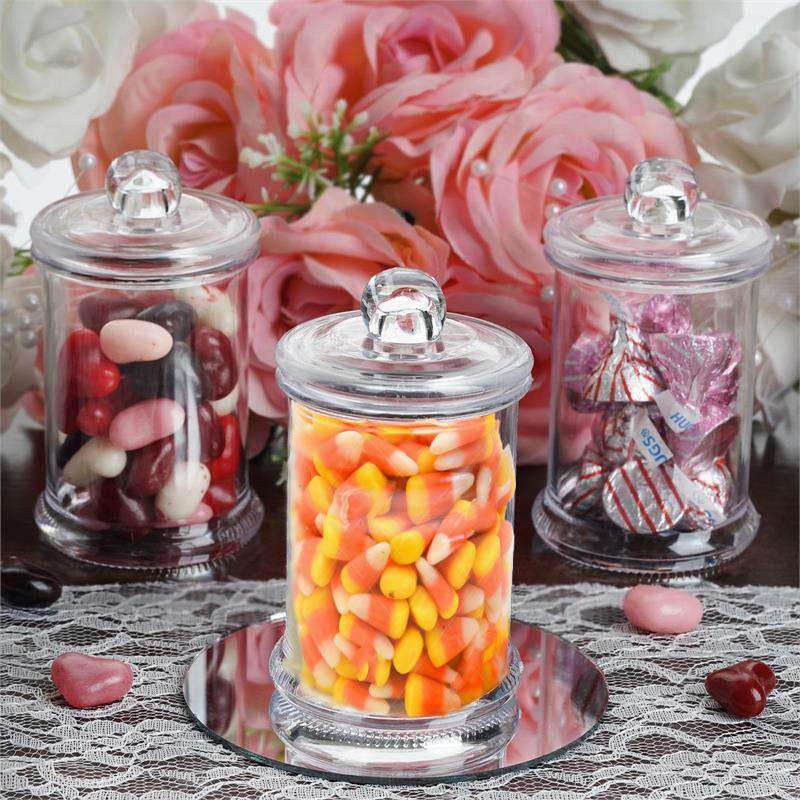 Set of 12 | 6 Oz Plastic Candy Jars Favor Container With Clear Lid