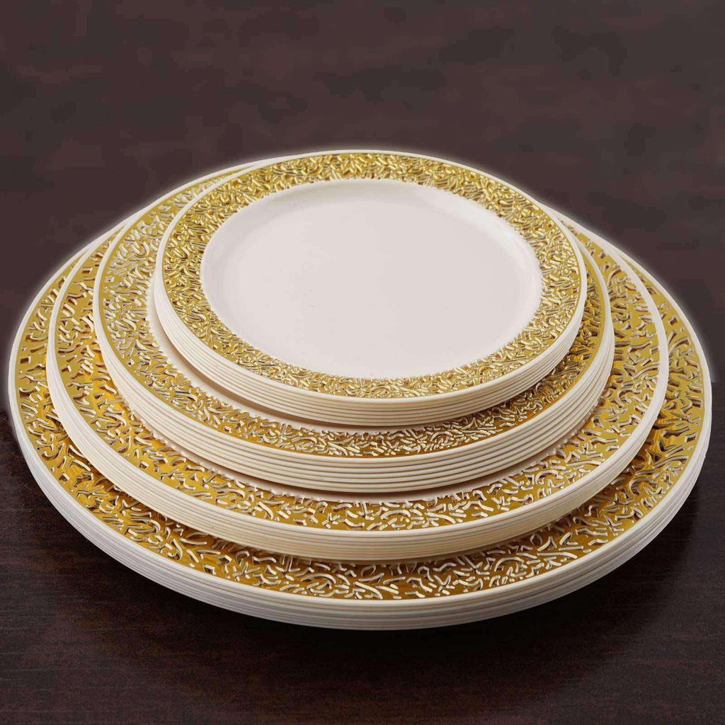 "10 Pack - Ivory with Gold Trimmed 7.5"" Round Disposable Plate - Designer Lace collection"