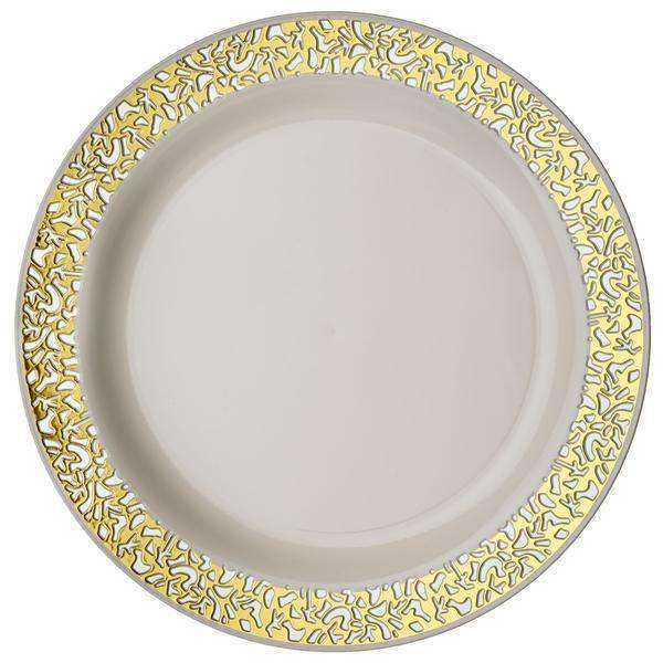"10 Pack 10"" Ivory Disposable Round Dinner Plates With Gold Lace Design Rim"