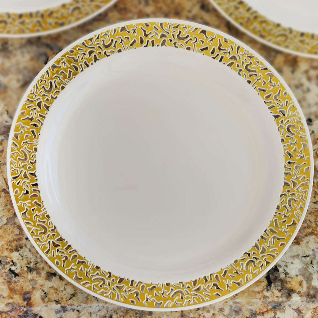 "10 Pack - Ivory with Gold Trimmed 10.25"" Round Disposable Plate - Designer Lace collection"
