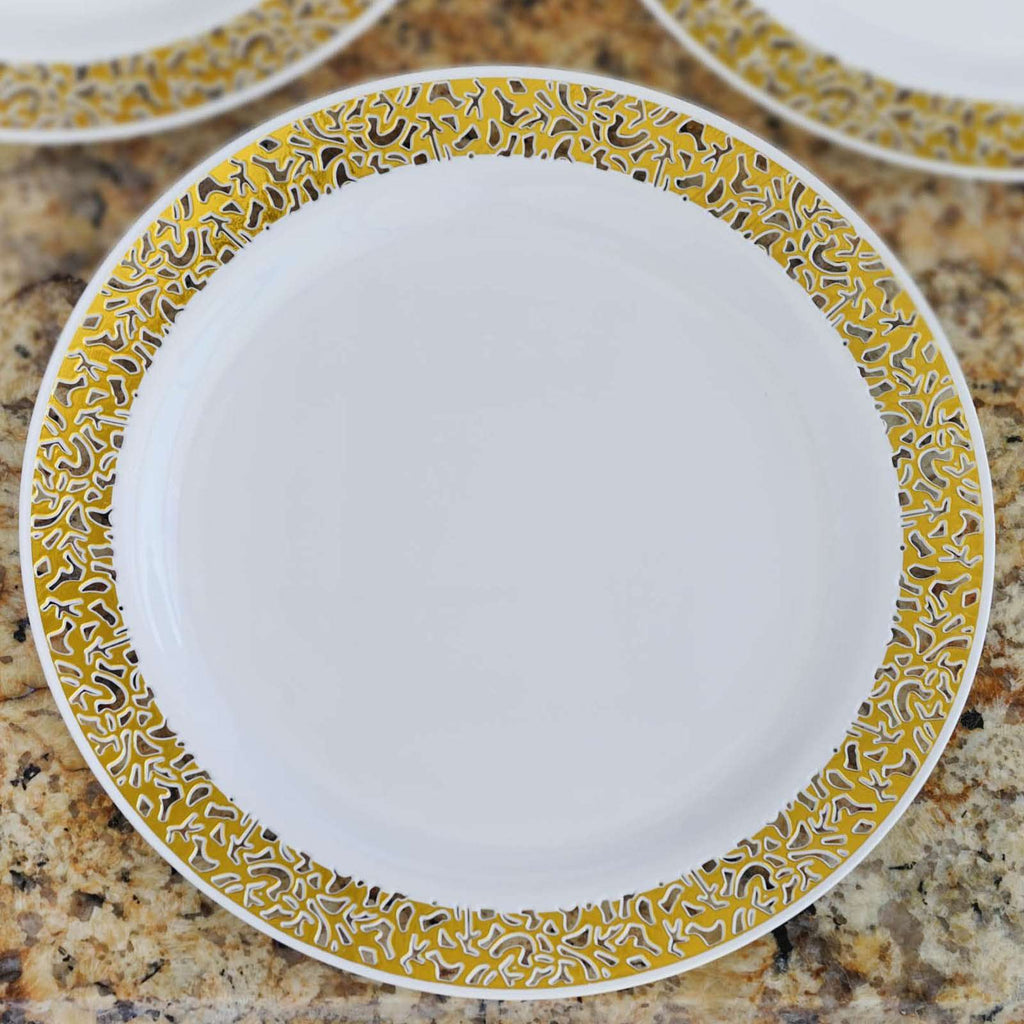 "10 Pack - White with Gold Trimmed 10.25"" Round Disposable Plate - Designer Lace collection"