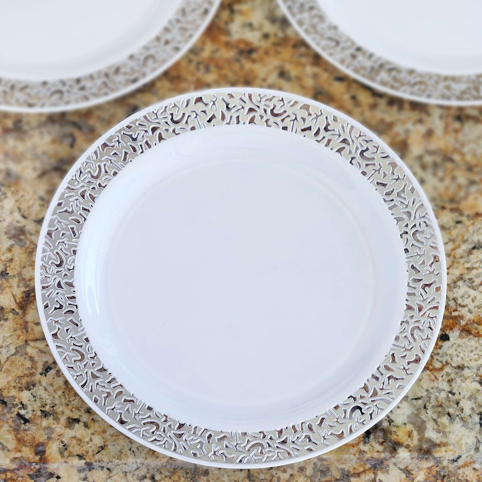 10 Pack 10 White Disposable Round Dinner Plates With Silver Lace