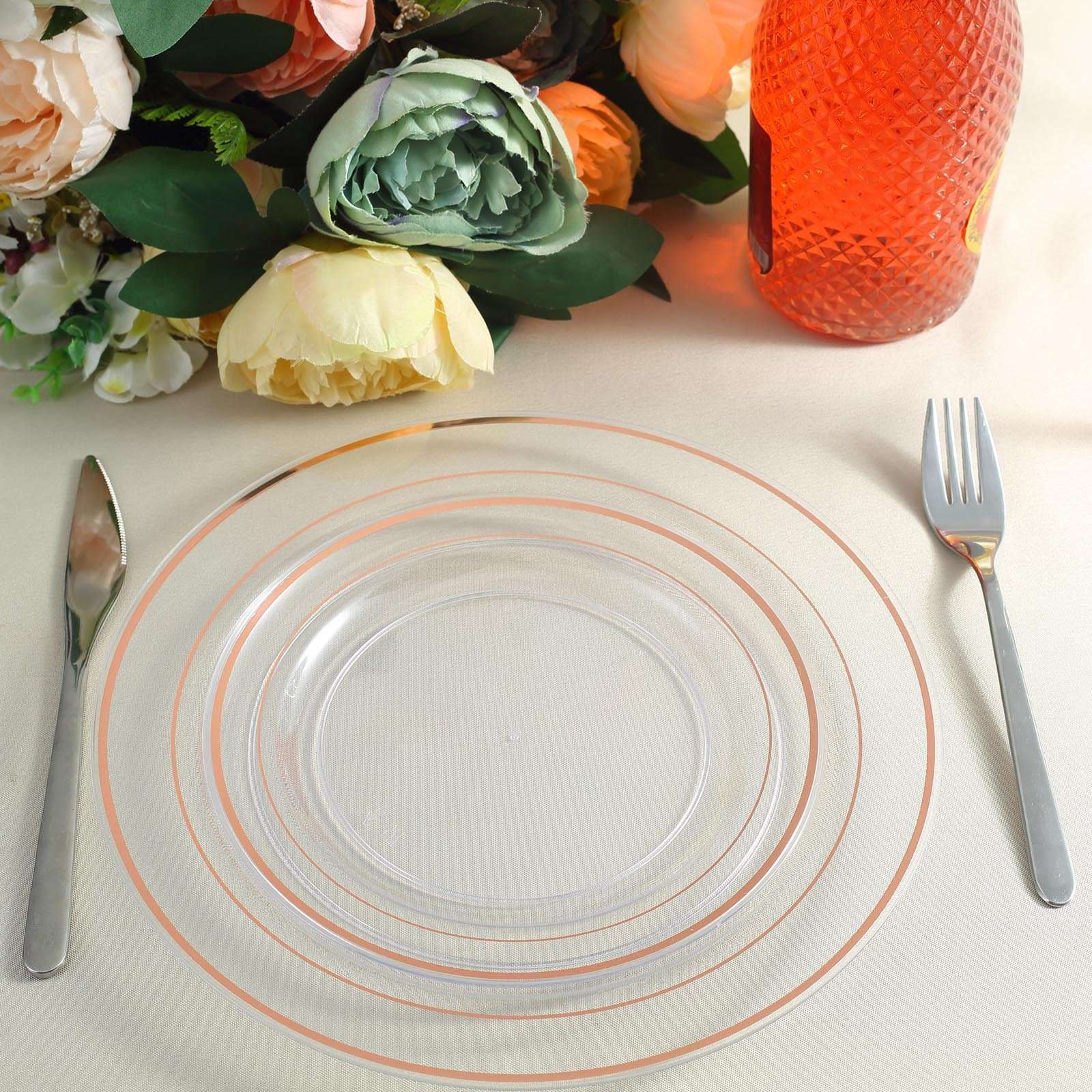 10 10 Pack Rose Gold Trimmed Clear Round Plastic Dinner Plates Chaircoverfactory