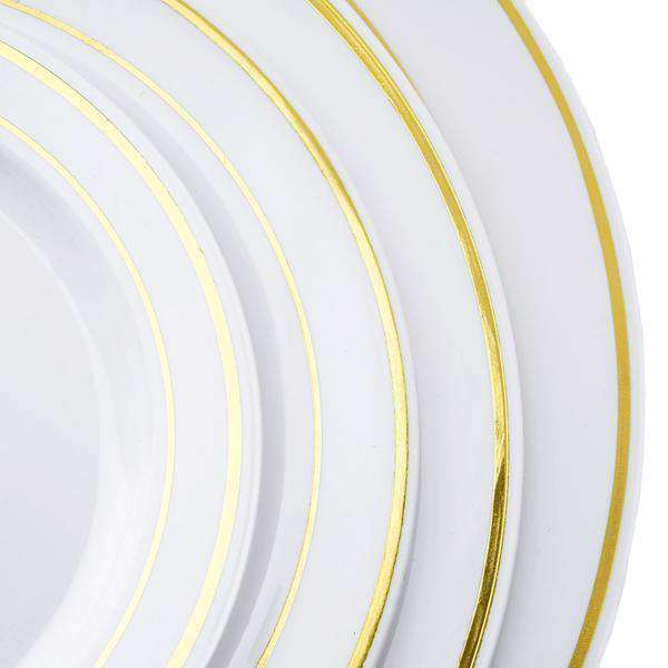 "10 Pack 10"" White Disposable Round Dinner Plates With Gold Rim"