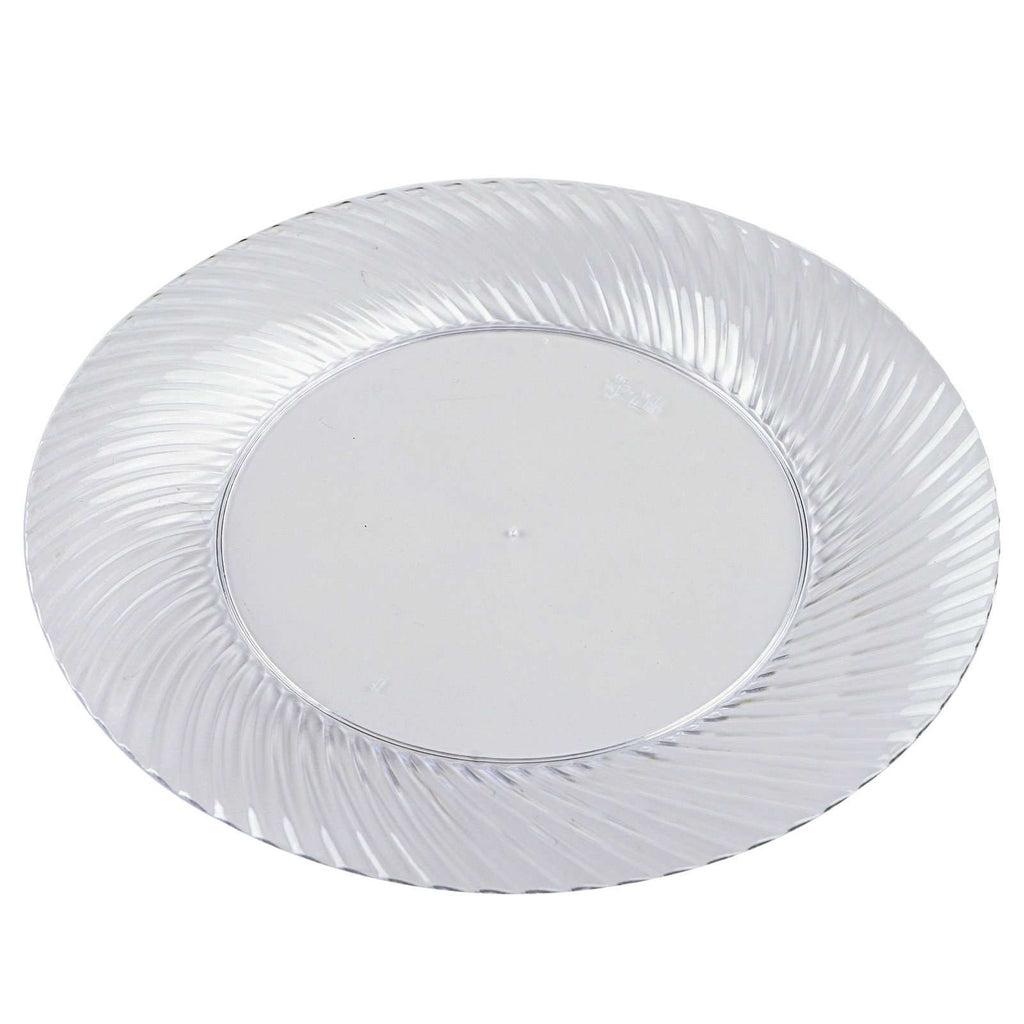 "10 Pack 10"" Clear Disposable Round Twirl Rim Dinner Plates"