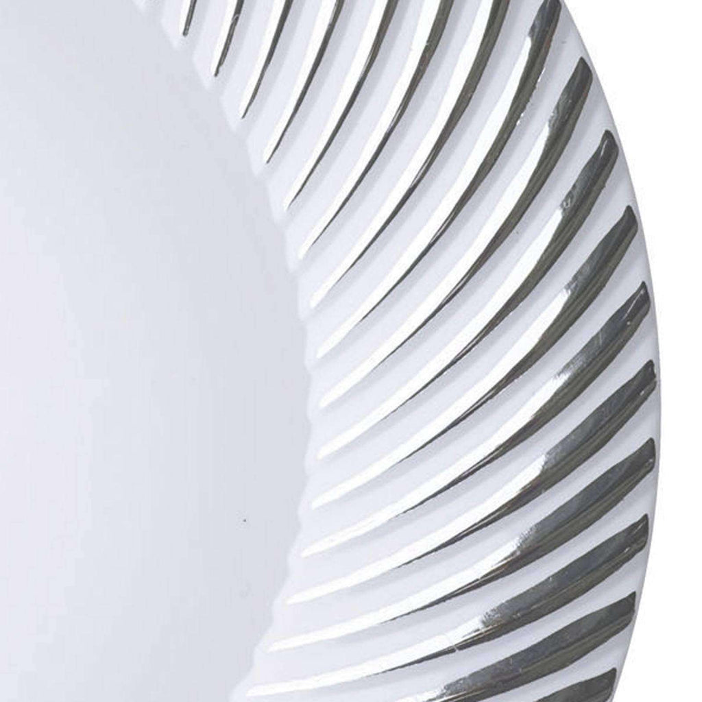 "10 Pack - White with Silver 10"" Round Disposable Plate - Twirl Collection"