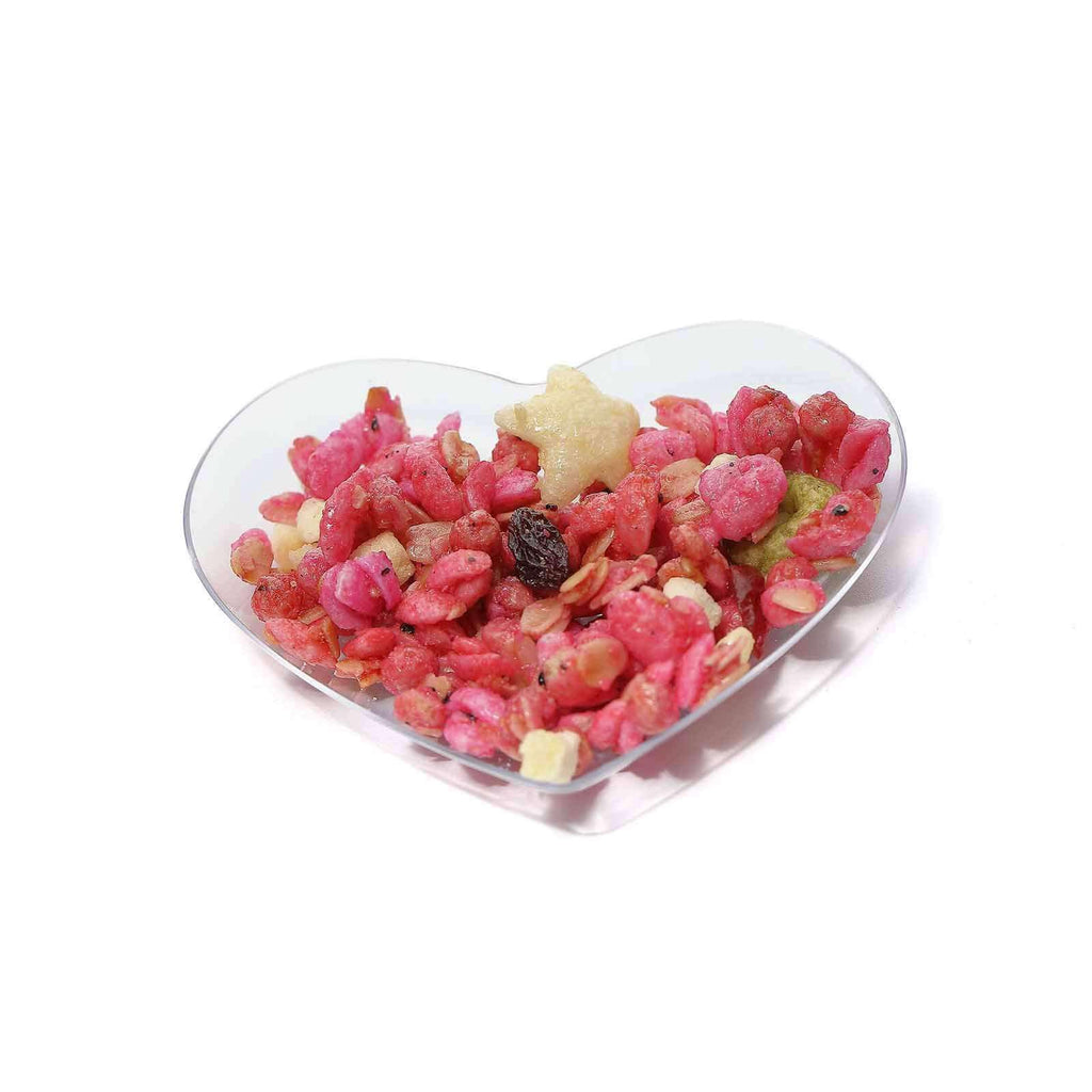 "24 Pack 3"" Clear Disposable Mini Heart Salad Dessert Plates"