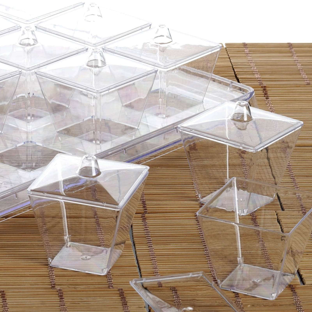 20 Pack 3oz Clear Disposable Square Dessert Cups With Lid Serving Tray