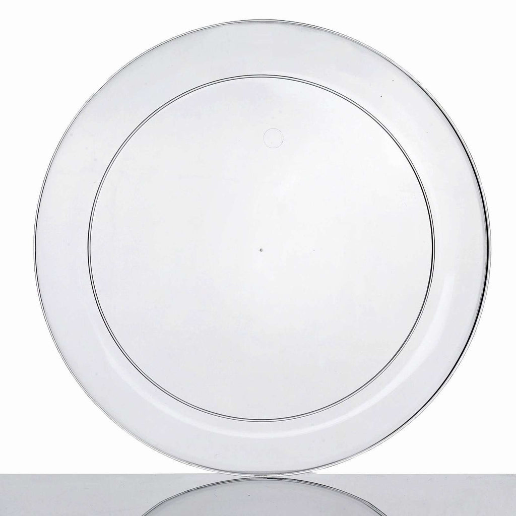 "20 Pack 10"" Clear Crystal Disposable Round Dinner Plates"