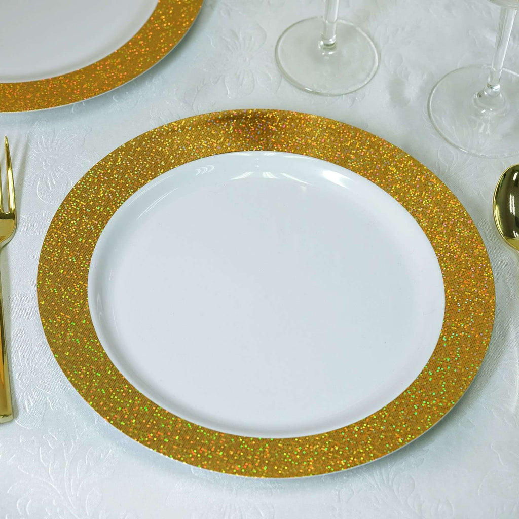 "12 Pack 10"" White Disposable Round Dinner Plates With Shiny Gold Dust Rim"