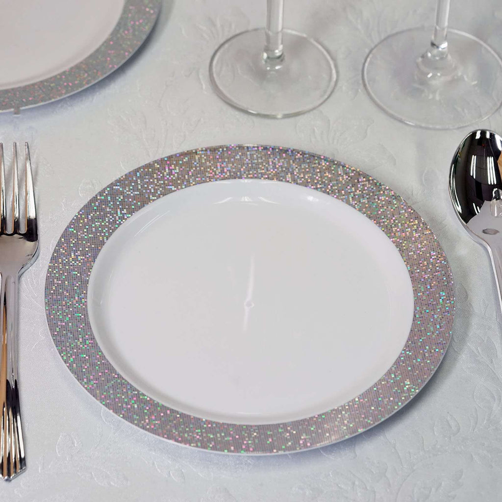 "12 Pack 8"" White Disposable Round Salad Dessert Plates With Shiny Silver Dust Rim"