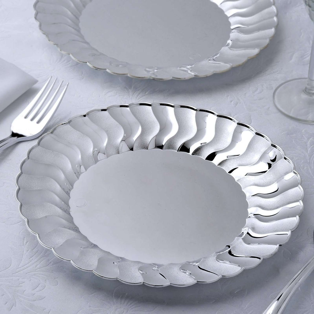 "12 Pack 9"" Silver Disposable Flared Round Dinner Plates"