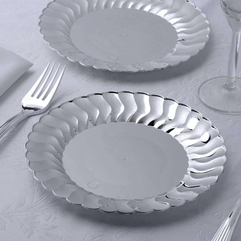 "12 Pack 8"" Silver Disposable Flared Round Salad Dessert Plates"