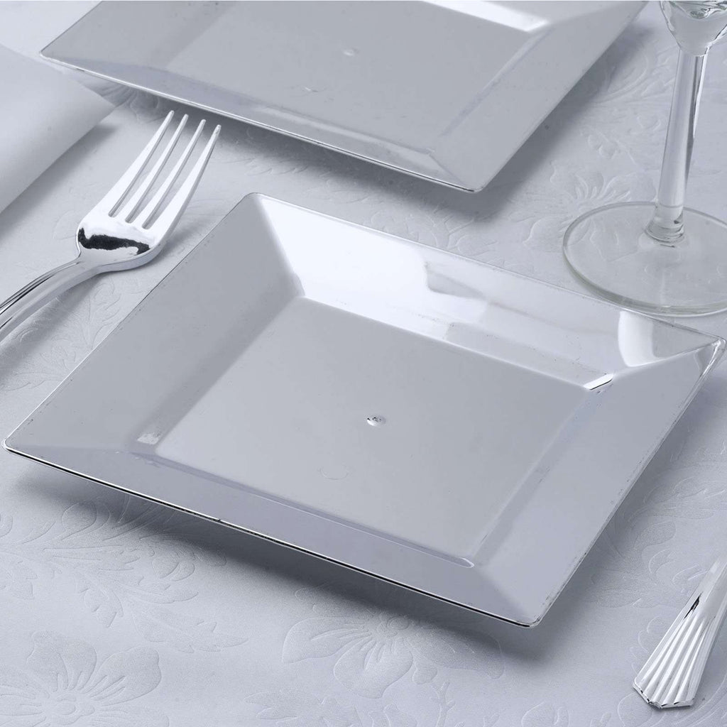 "12 Pack 7"" Shiny Silver Disposable Square Salad Dessert Plates"