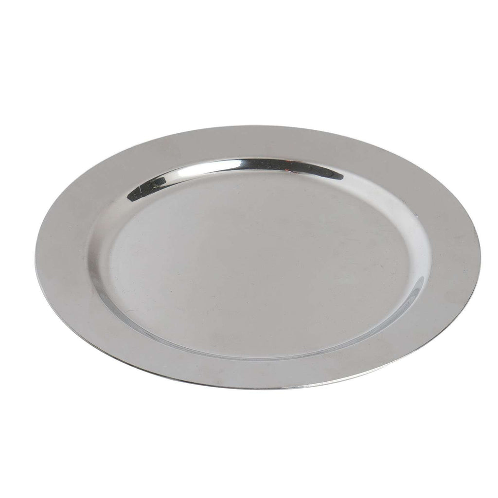 "12 Pack 8"" Shiny Silver Disposable Round Salad Dessert Plates"