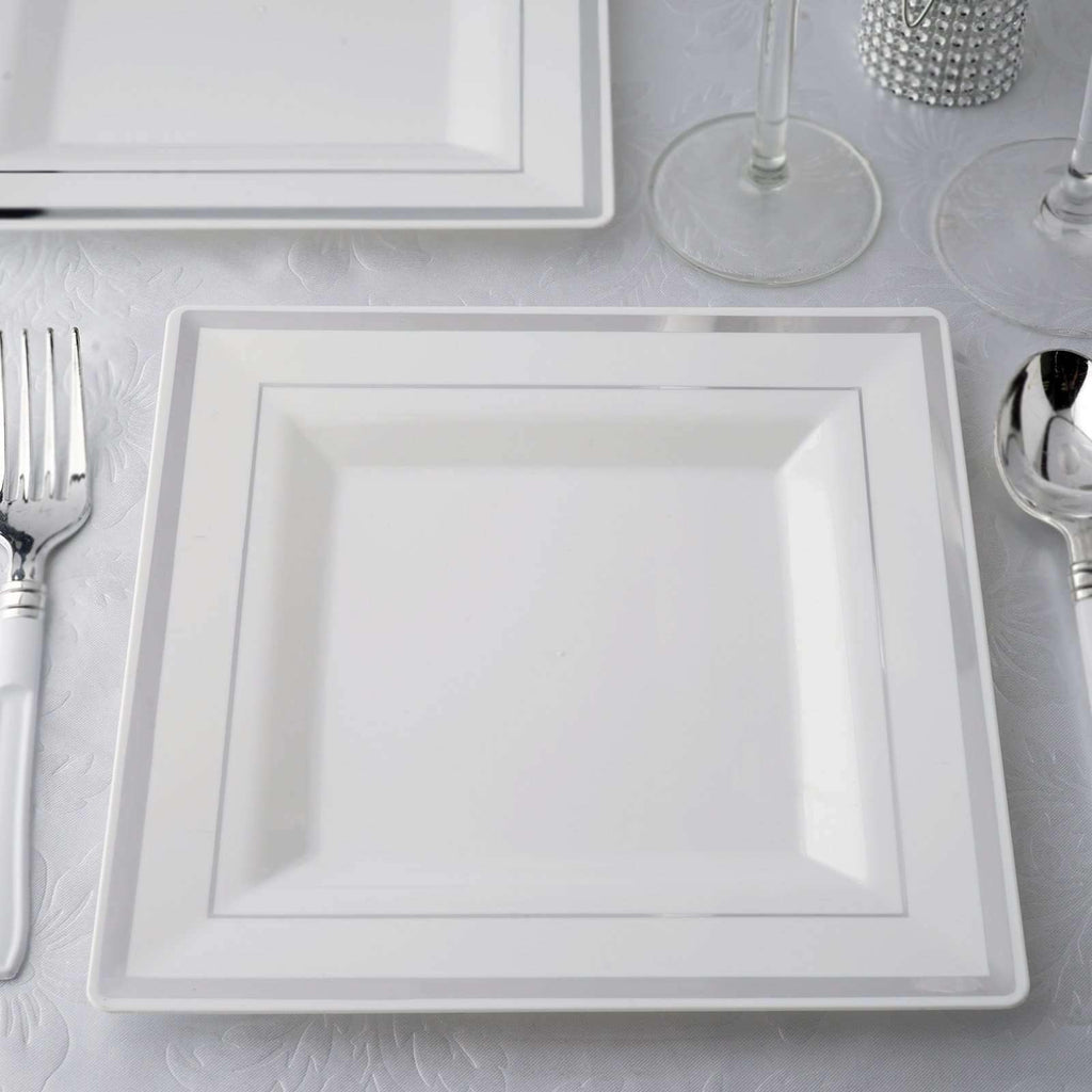 "10 Pack 8"" White Disposable Square Salad Dessert Plates With Shiny Silver Rim"
