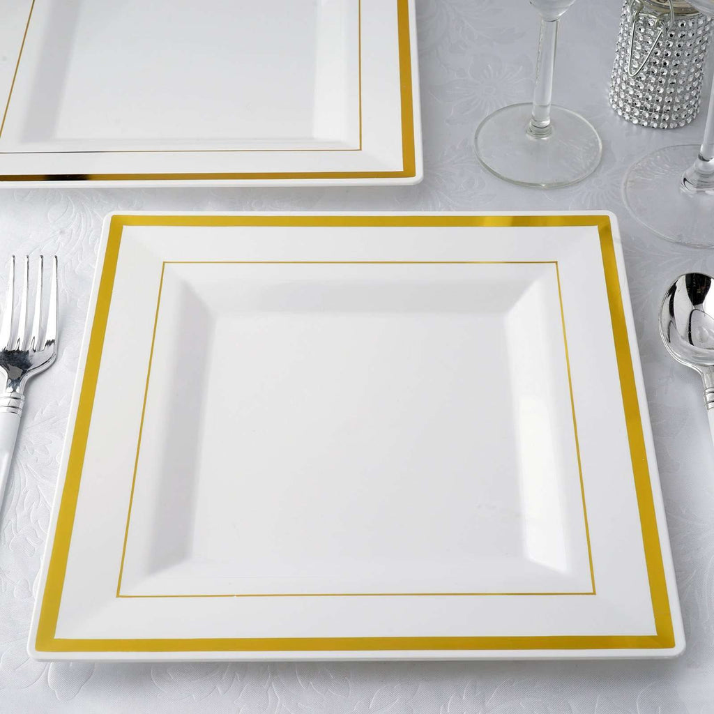 "10 Pack 10"" White Disposable Square Dinner Plates With Shiny Gold Rim"