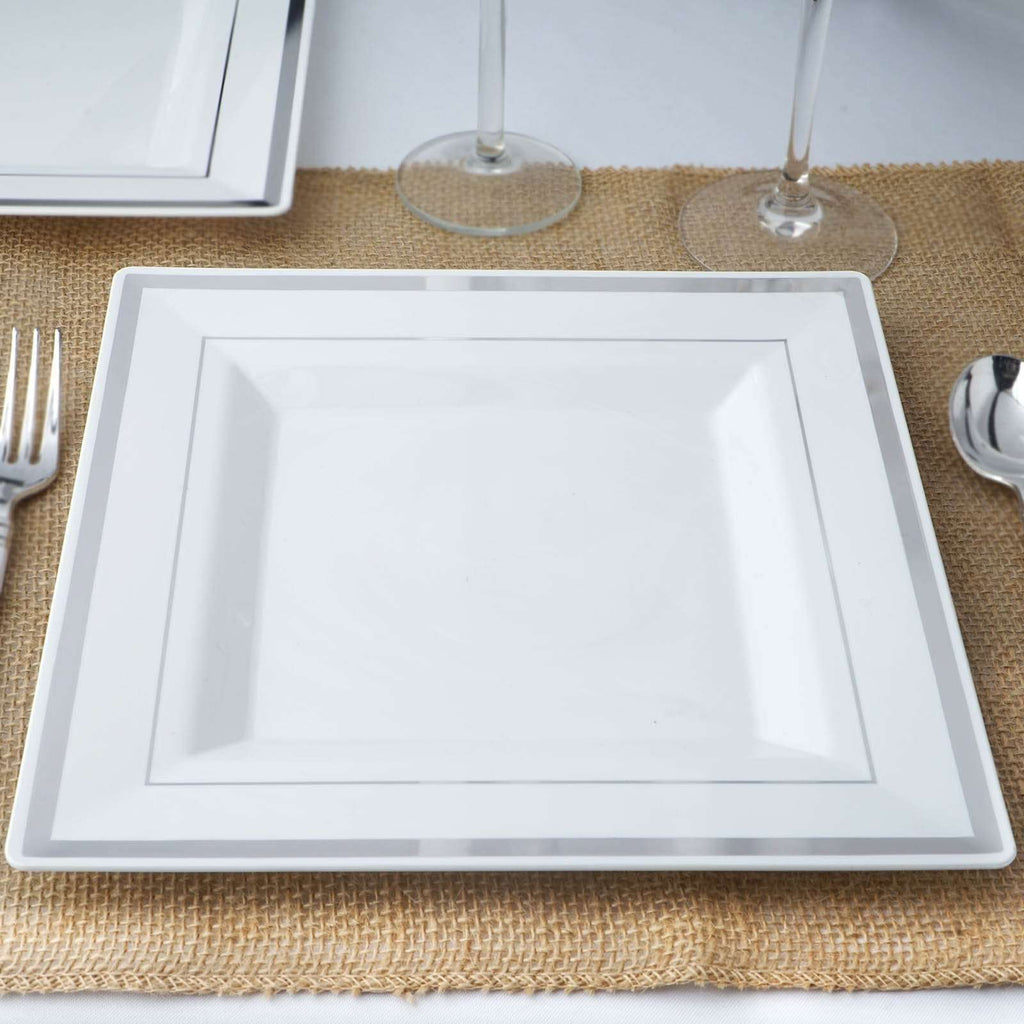 "10 Pack 10"" White Disposable Square Dinner Plates With Shiny Silver Rim"