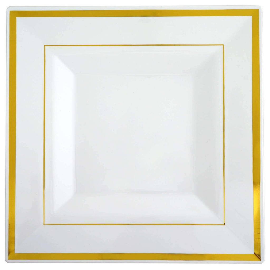 "10 Pack 11"" White Disposable Square Dinner Plates With Shiny Gold Rim"