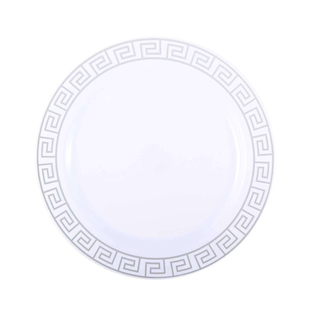 "10 Pack 10"" White Plastic Disposable Dinner Plates with Geometric Design Hot Stamped Silver Rim"