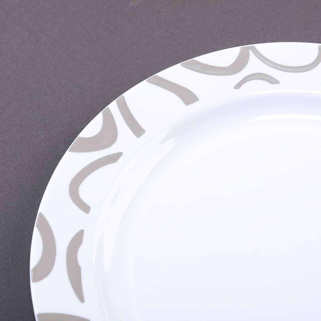 "10 Pack 9"" White Disposable Round Dessert Salad Plates with Silver Abstract Hot Stamped Rim"