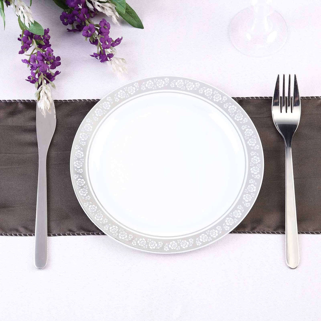 "10 Pack 8"" White Disposable Round Salad Dessert Plate With Silver Floral Rim"