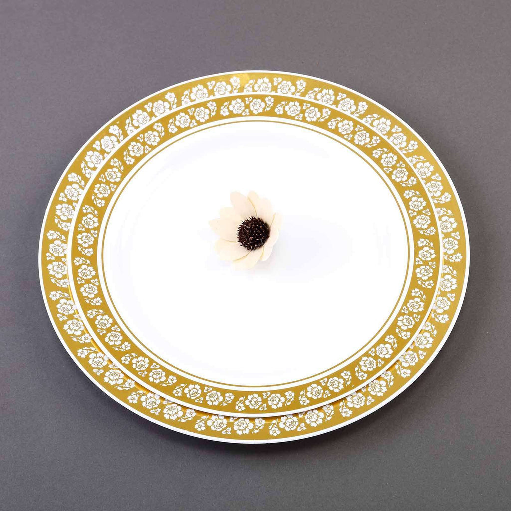 "10 Pack 9"" White Disposable Round Dinner Plate With Gold Floral Rim"