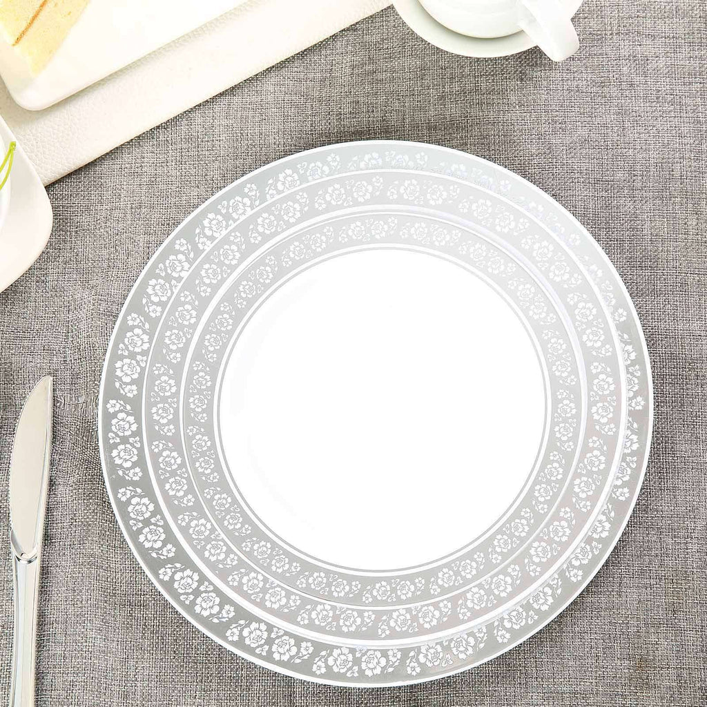 "10 Pack 10"" White Disposable Round Dinner Plate With Silver Floral Rim"