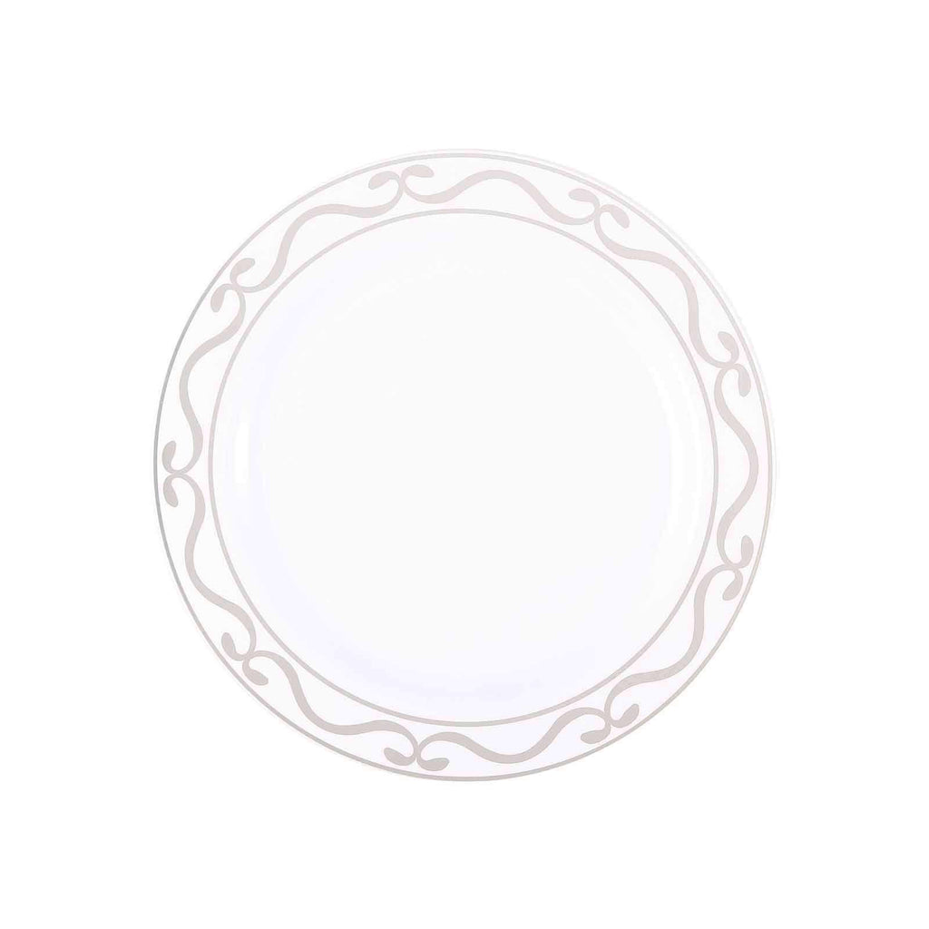 "10 Pack 9"" White Plastic Disposable Dinner Plates with Silver Scalloped Hot Stamped Rim"