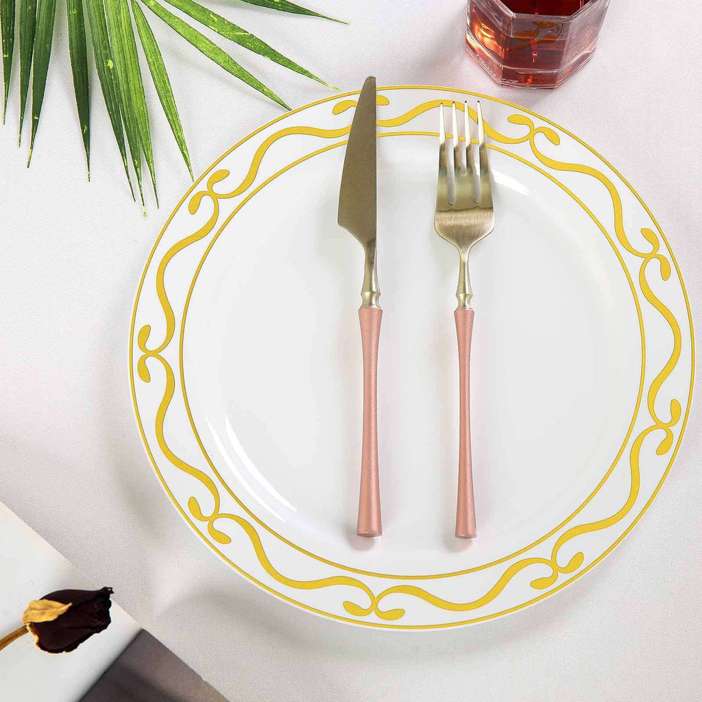 "10 Pack 10"" White Plastic Disposable Dinner Plates with Gold Scalloped Hot Stamped Rim"