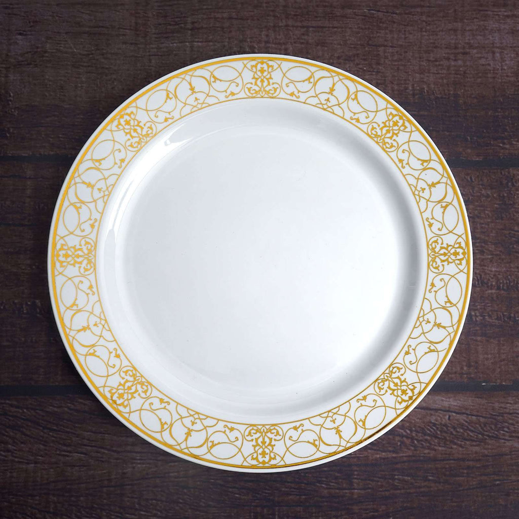 "10 Pack 9"" White Disposable Round Dinner Plate With Heritage Gold Lace Rim"