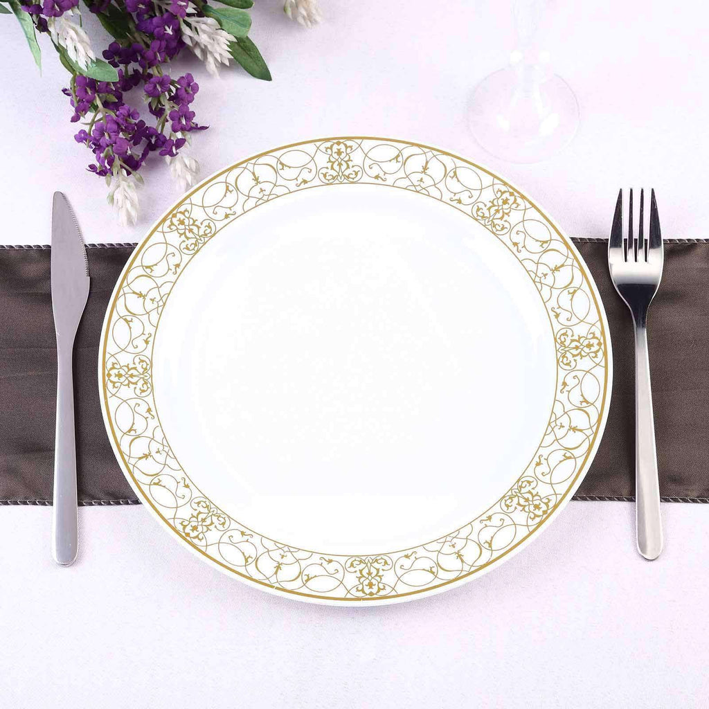 "10 Pack 10"" White Disposable Round Dinner Plate With Heritage Gold Lace Rim"