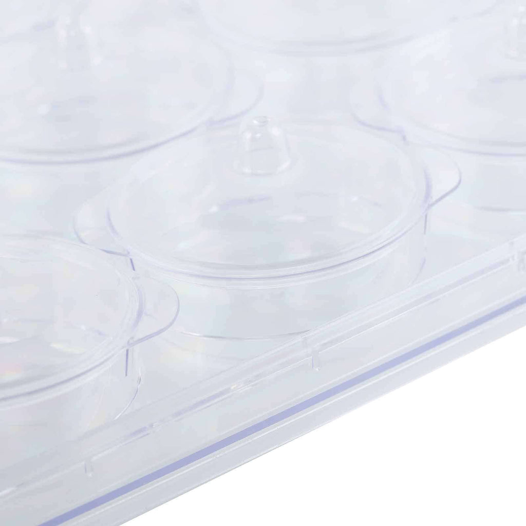 20 Pack 2 oz Clear Disposable Round Dessert Cups with Lids Serving Tray