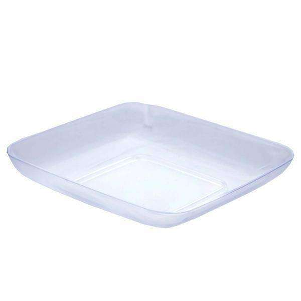 "24 Pack 2"" Clear Disposable Mini Square Salad Dessert Plates"