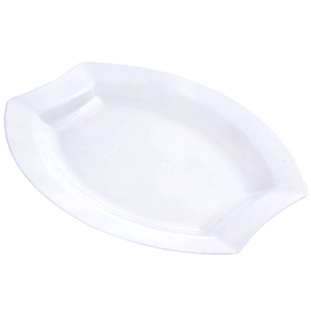 "10 Pack - Clear 10.5"" Crescent Oval Shaped Disposable Plate  - Chambury Plastics"