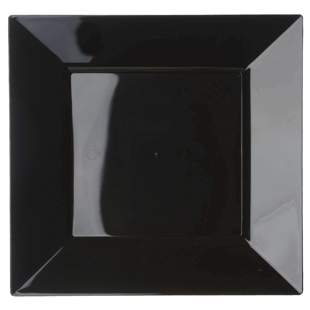 "10 Pack 11"" Black Disposable Square Dinner Plates"