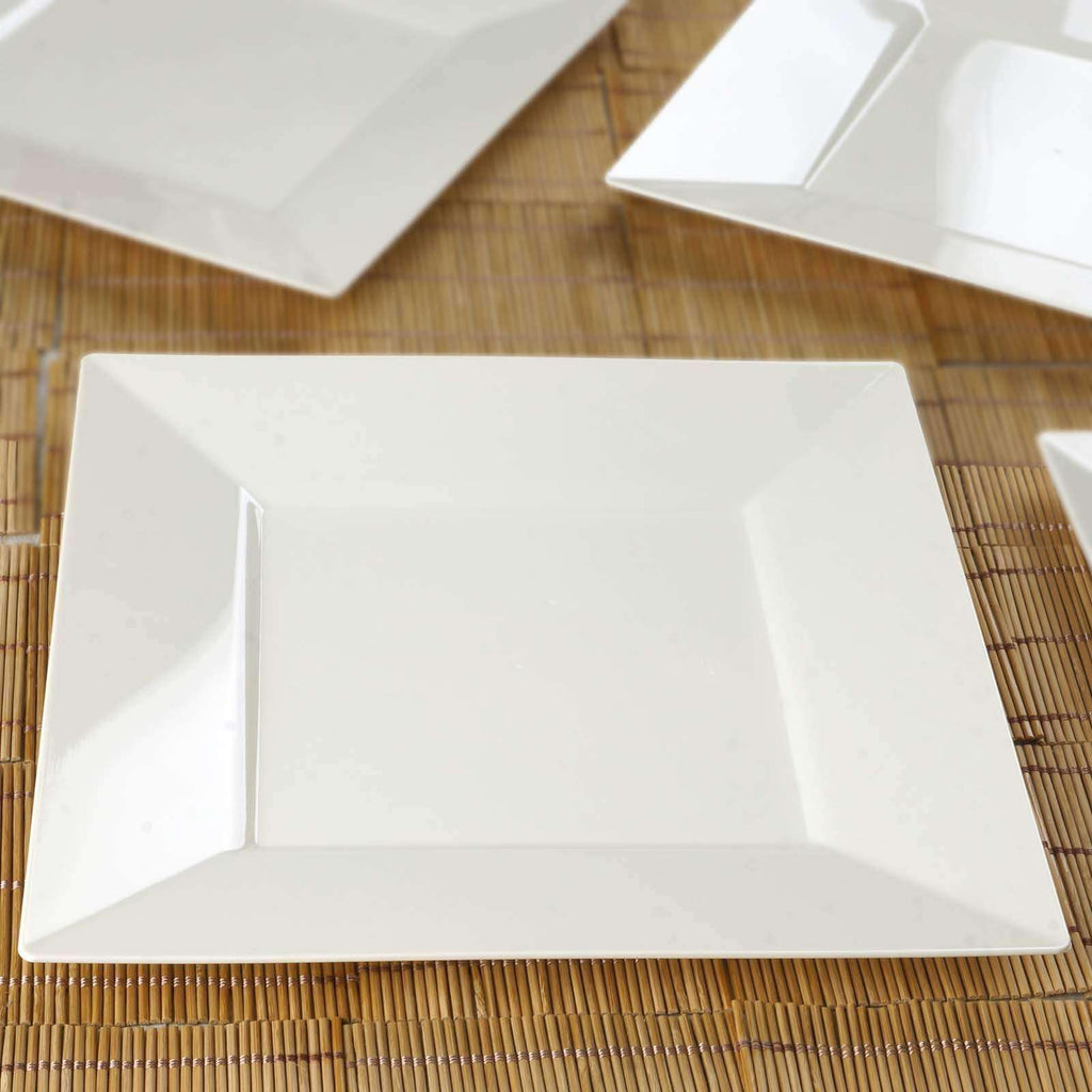 "10 Pack - Ivory 10.75"" Square Disposable Plate - Chambury Plastics"