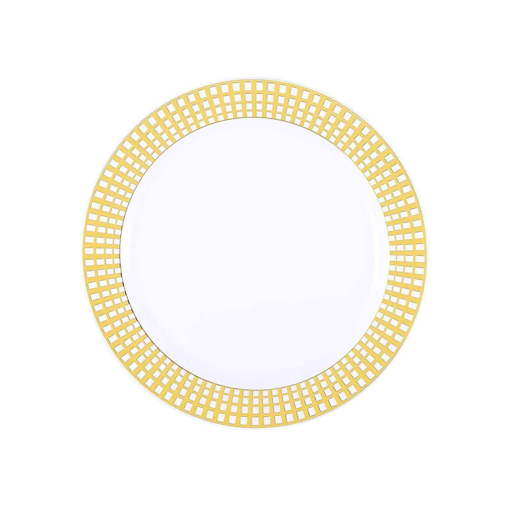 "10 Pack 8"" White Disposable Round Salad Dessert Plates With Gold Hot Stamped Rim"