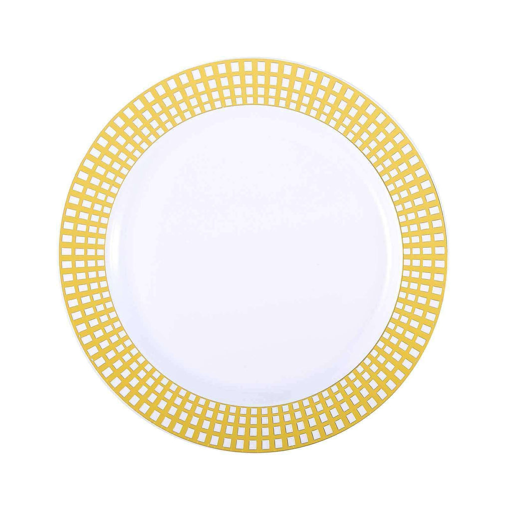 "10 Pack 10"" White Disposable Round Dinner Plates With Gold Hot Stamped Rim"