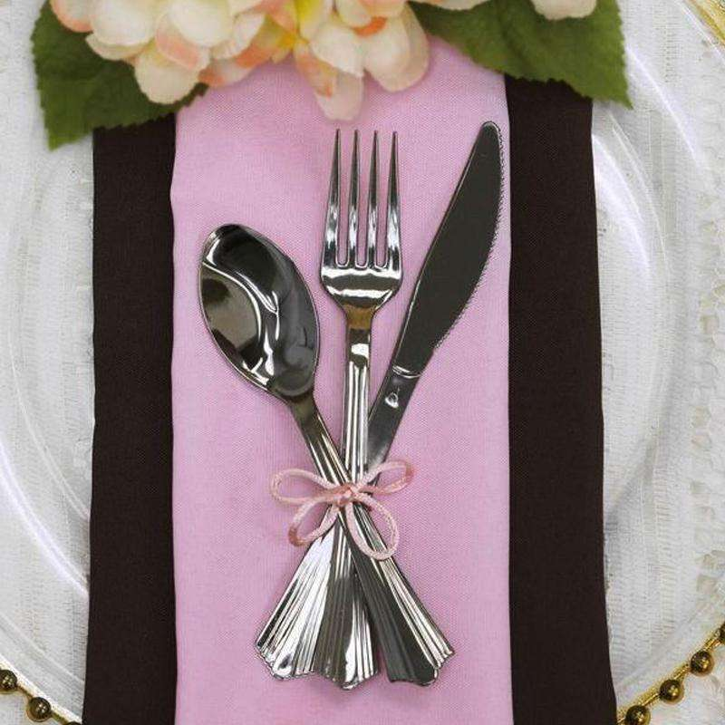 8 Sets Silver Chambury Plastic Disposable Cutlery Set