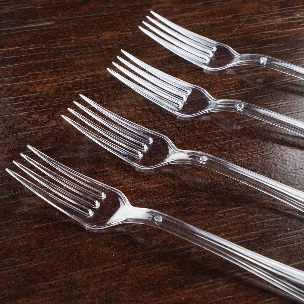 25 Pieces - Dapper Clear Plastic Fork - Chambury Plastics