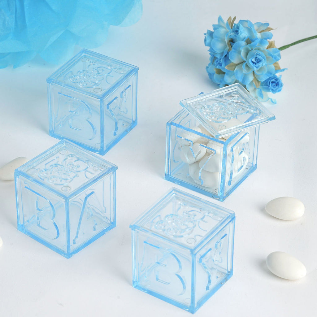 "Set of 12 | 2"" Blue Fillable Baby Blocks 
